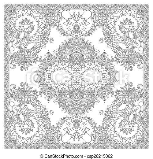 plein, volwassenen, -, boek, kleuren, ethnische , floral, pagina, tapijt - csp26215062