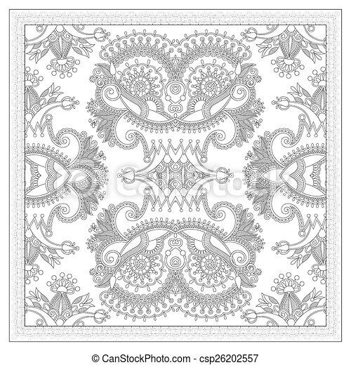 plein, volwassenen, -, boek, kleuren, ethnische , floral, pagina, tapijt - csp26202557