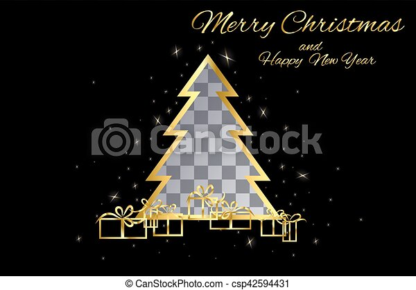 plek, knippen, boompje, kerstmis, goud - csp42594431