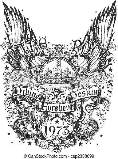 plemienny, korona, skrzydło, ilustracja - csp2338699