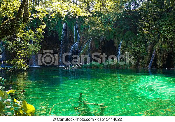 plitvice, 호수, 폭포 - csp15414622