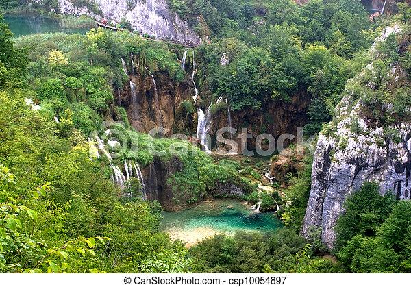 plitvice, cascata, lago, paesaggio - csp10054897