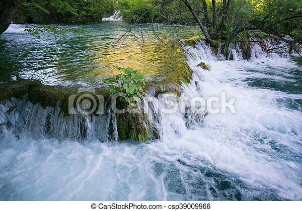 plitvice, park, national, prächtig, wasserfälle - csp39009966