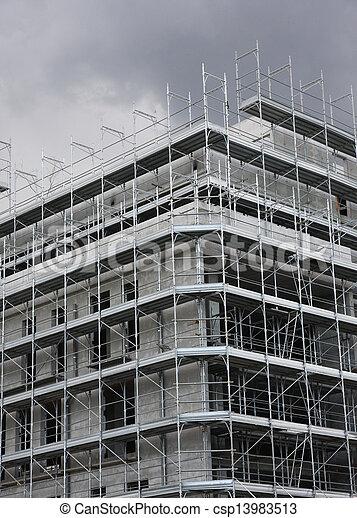 Plomb Ciel Grand Construction Gratte Ciel Sous Structure