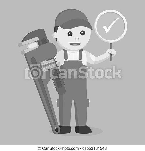 Plomero sosteniendo verdadero signo y una llave inglesa gigante al estilo blanco y negro - csp53181543