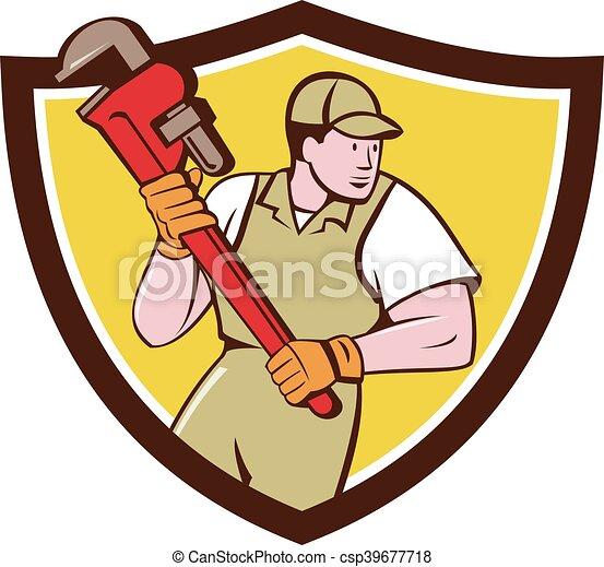 Plumber sosteniendo una llave inglesa caricatura de cresta - csp39677718