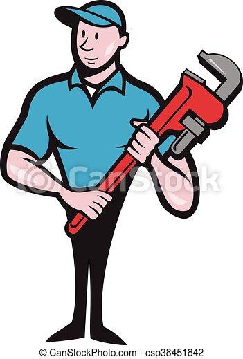 Plumber sosteniendo dibujos de la llave inglesa - csp38451842