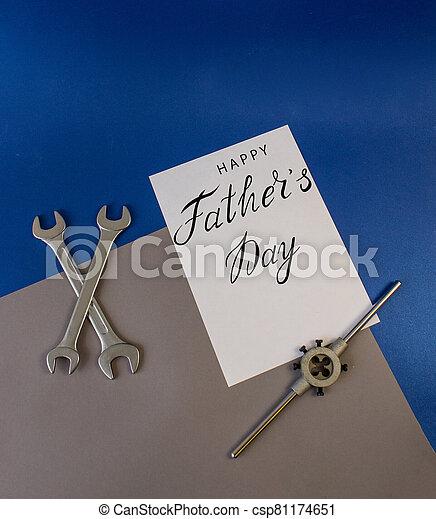 plomero, padre, trabajador, mecánico, constructor, tarjeta de felicitación, día - csp81174651