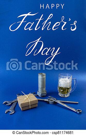 plomero, padre, trabajador, mecánico, constructor, tarjeta de felicitación, día - csp81174681