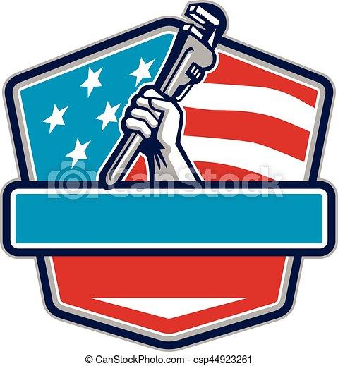 Plataforma de mano de fontanero USA escudo bandera retro - csp44923261