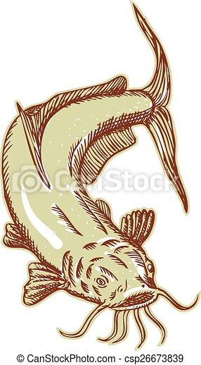 plongée, chat, poisson-chat, graver, boue - csp26673839