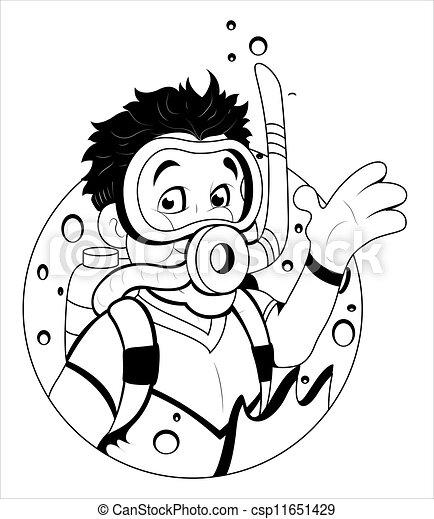 Plongeur scaphandre dessin anim art r sum - Dessin plongeur ...