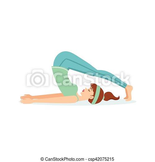 plow halasana yoga pose demonstratedthe girl cartoon
