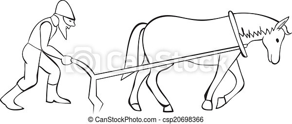 Plowman and horse with plow - csp20698366