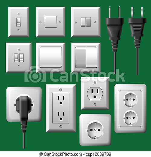 Plug And Light Switch Set Vector