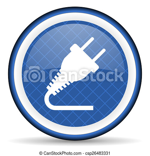 plug blue icon electricity sign - csp26483331