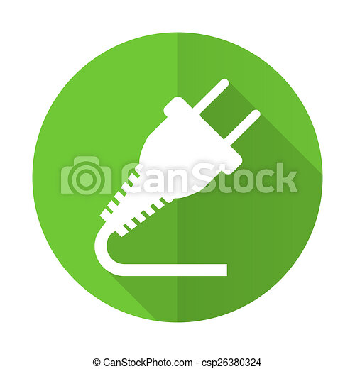 plug green flat icon electricity sign - csp26380324