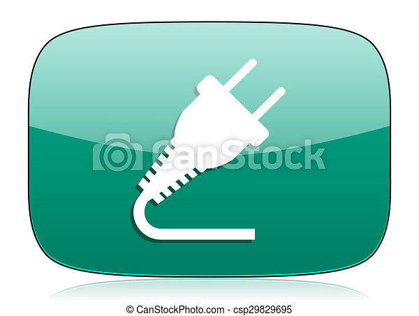 plug green icon electricity sign - csp29829695