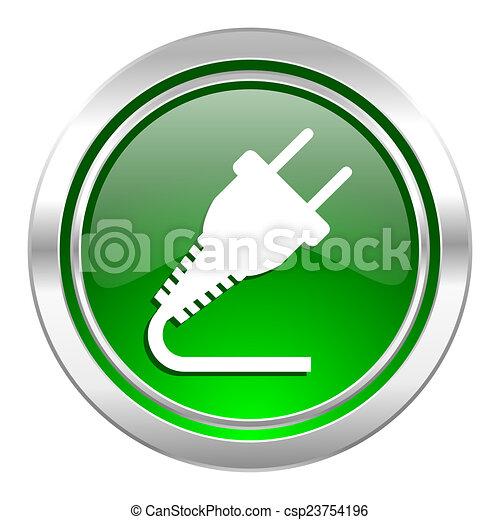 plug icon, green button, electricity sign - csp23754196