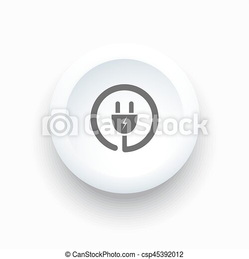 Plug icon on a white simple button - csp45392012