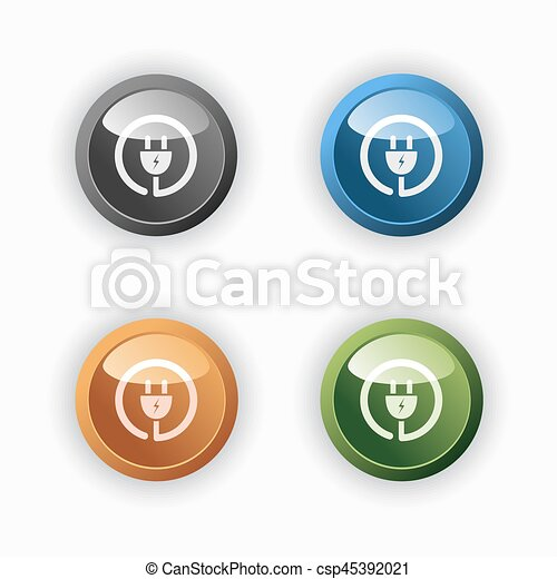 Plug icon on colored round buttons - csp45392021