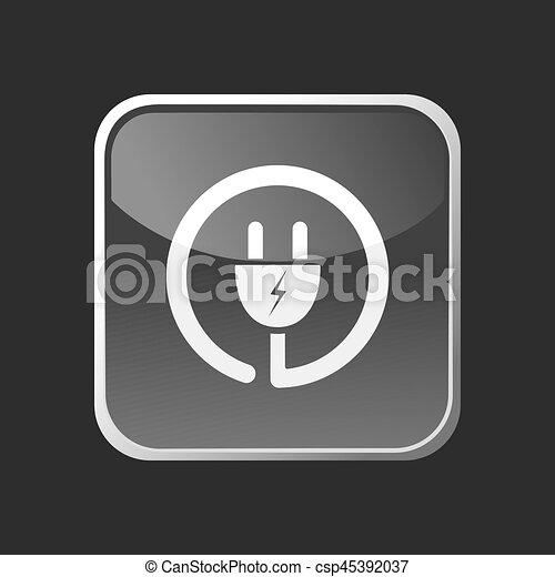 Plug icon on grey square button - csp45392037