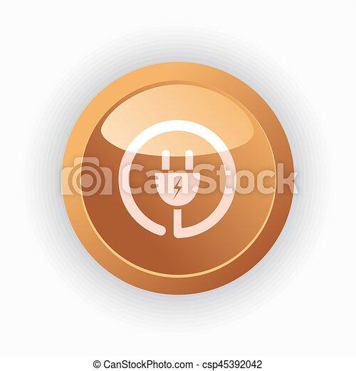 Plug icon on orange round button - csp45392042