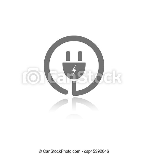 Plug icon with reflection on a white background - csp45392046