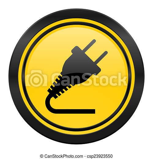 plug icon, yellow logo, electricity sign - csp23923550