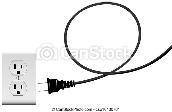 Plug in electric energy outlet copy space cord loop.... stock ...