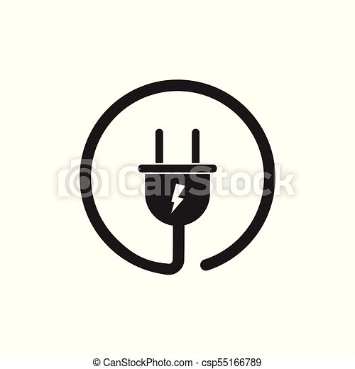 Plug vector icon. power wire cable flat illustration. vector ...