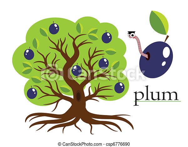 Plum tree ,vector - csp6776690