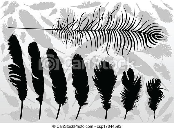 Las plumas de pájaro ilustran el vector de fondo de la colección de plumas - csp17044593