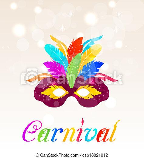 Una máscara colorida de carnaval con plumas con texto - csp18021012