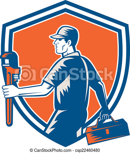 plumber carry toolbox wrench shield woodcut illustration of rh canstockphoto com toolbox clipart black and white toolbox clip art png