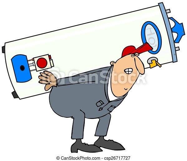 Plumber carrying gas water heater - csp26717727