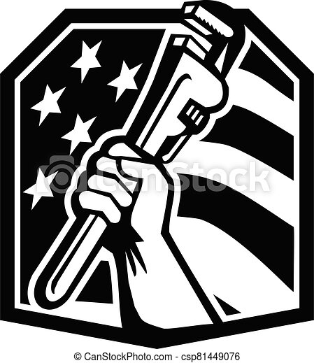 plumber-hand-clutching-pipe-wrench-usa-flag-crest_bw-cut - csp81449076