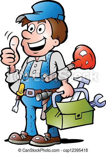 Plumber Handyman, giving thumb up - csp12395418
