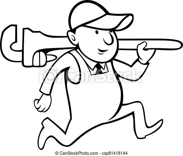 Plumber Holding Monkey Wrench Cartoon Black and White - csp81418144