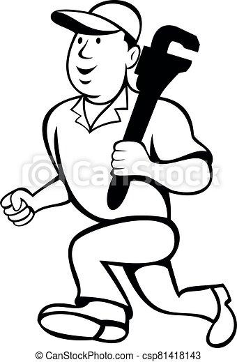 Plumber Holding Monkey Wrench Running Cartoon Black and White - csp81418143
