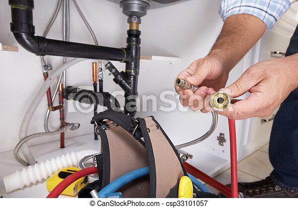 Plumber on the kitchen. - csp33101057