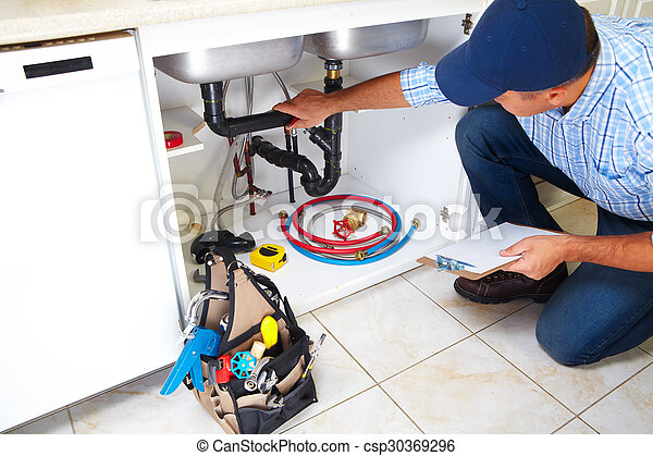 Plumber on the kitchen. - csp30369296