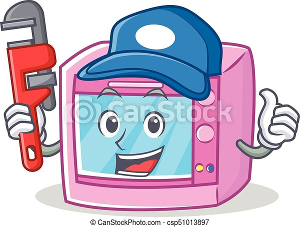 plumber oven microwave character cartoon vector illustration