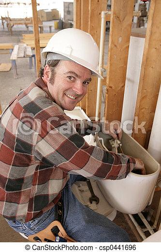 Plumber Repairs Toilet - csp0441696