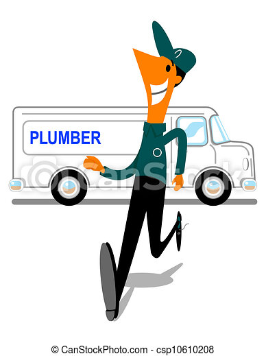 plumber rushing from repair van cartoon image of a worker rushing rh canstockphoto com Plumbing Clip Art Illustrations Toilet Clip Art