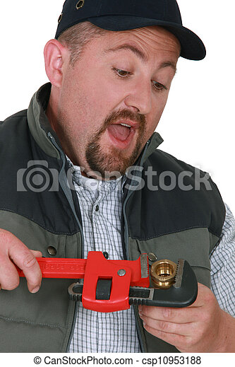 Plumber tightening nut with adjustable wrench - csp10953188