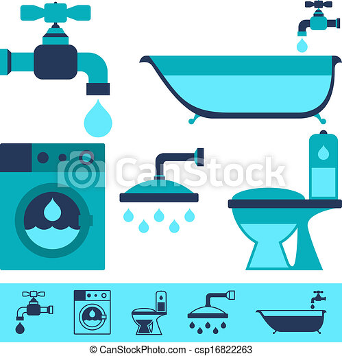 Plumbing equipment icons in flat design style. - csp16822263