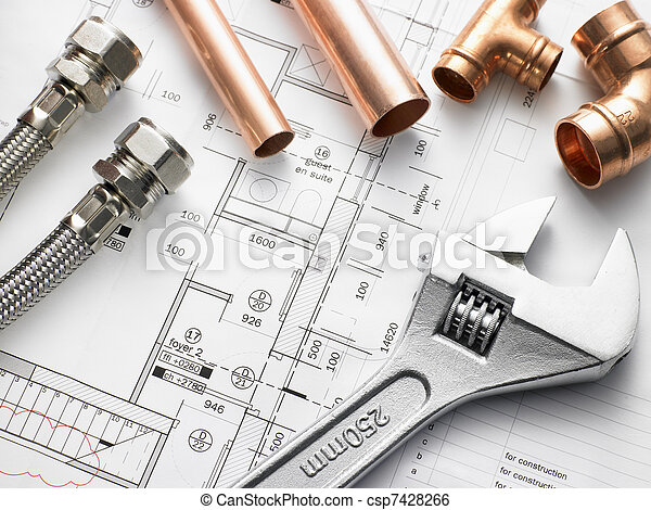 Plumbing Equipment On House Plans - csp7428266