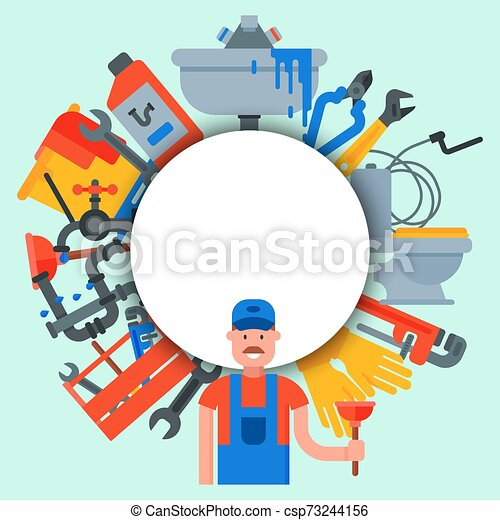 Plumbing service circle set vector illustration. Professional plumber is standing in front of white circle with place for text. Tools and plumbing accessories - csp73244156