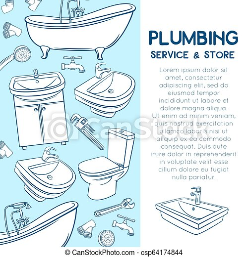 Plumbing Service Design Plumbing Layout Page Design Hand Drawn Shower Bathroom Sink Toilet Sanitary Wrench And Tap For